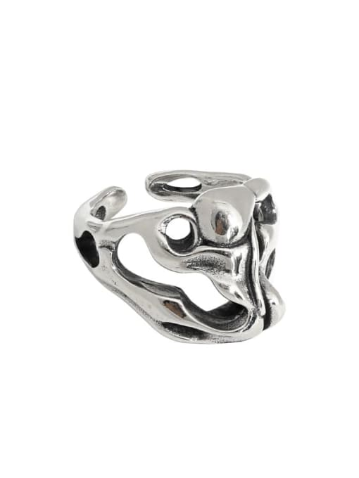 Retro silver [14 adjustable] 925 Sterling Silver Hollow Skull Vintage Band Ring